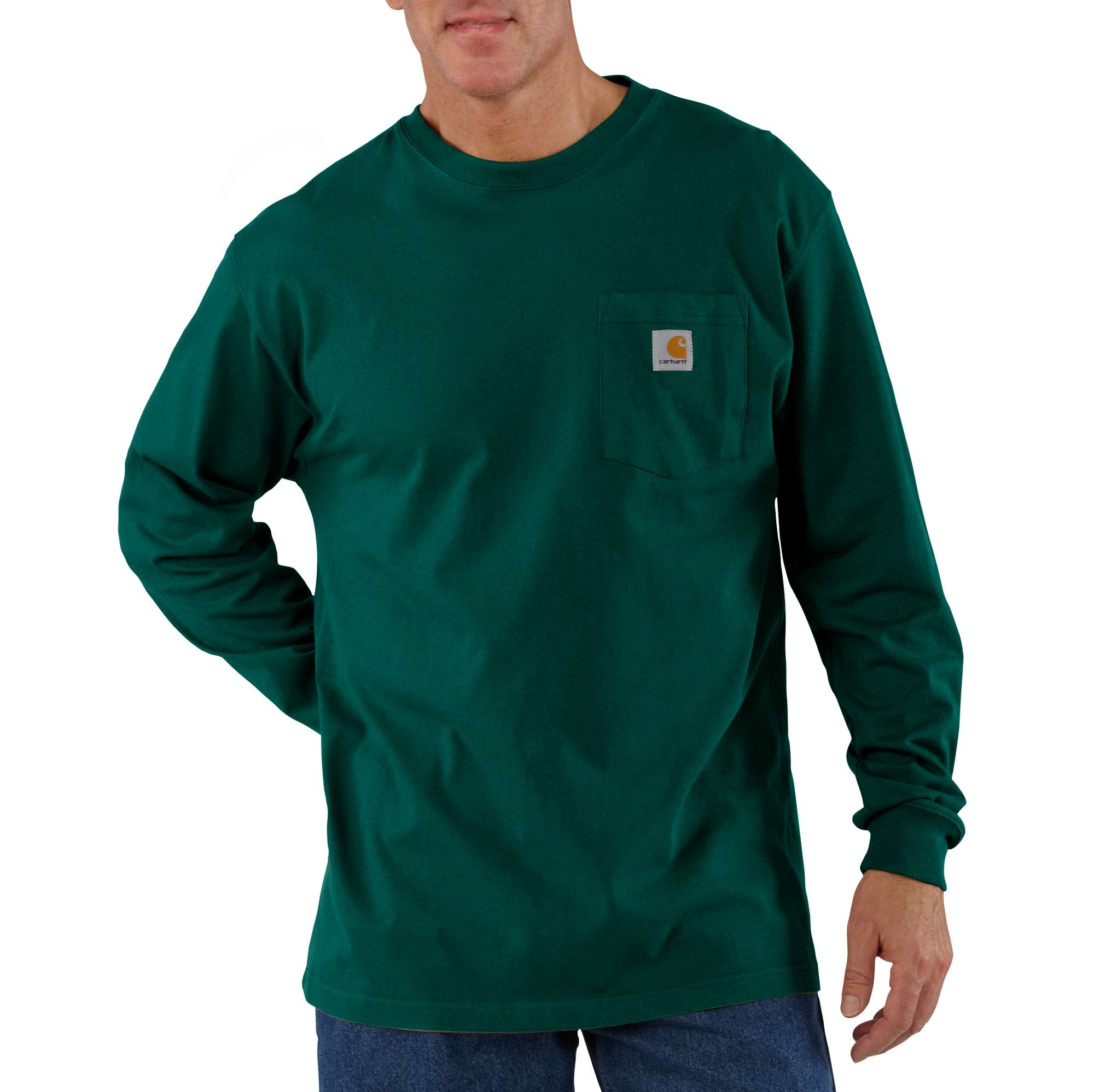 Men's Workwear Long Sleeve Pocket T-Shirt, Hunter Green, swatch
