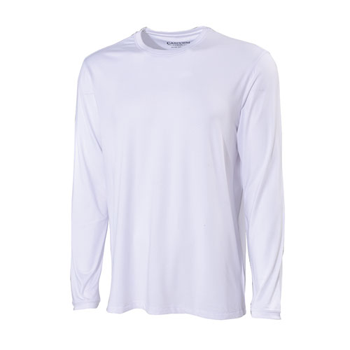 Men's Long Sleeve Poly UPF Crew Neck Shirt, White, swatch