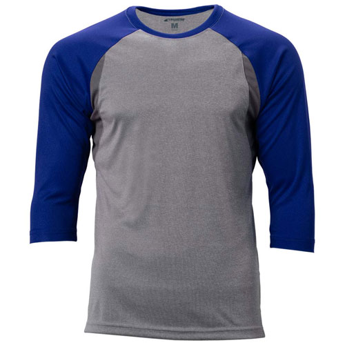 Youth Extra Innings 3/4 Sleeve Shirt, Gray/Royal, swatch