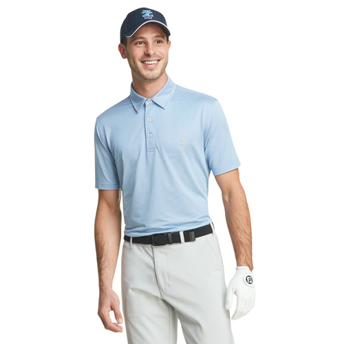 Men's Gingham Golf Polo, Blue, swatch