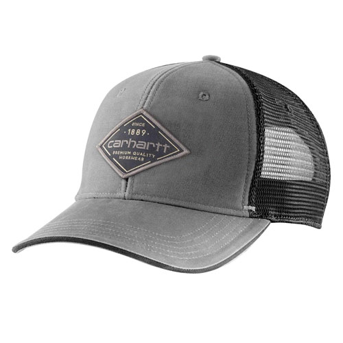 Canvas Mesh-Back Premium Graphic Cap, Gray, swatch