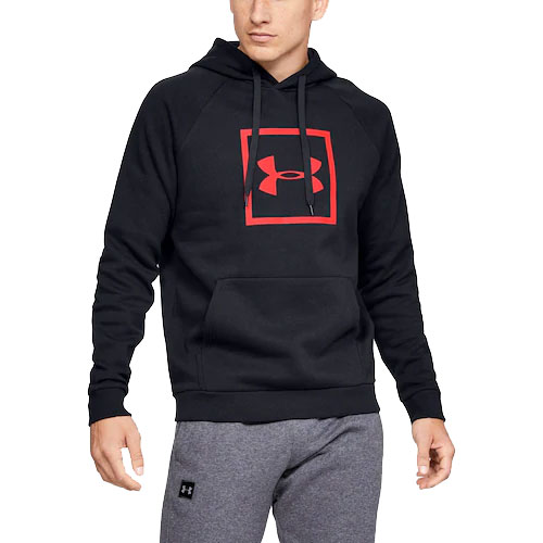Men's Rival Fleece Logo Hoodie, Black/Red, swatch