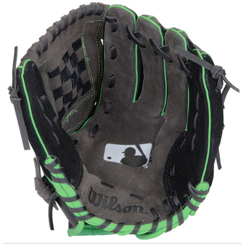 "Youth 12"" A350 MLB Baseball Glove, Black/Lime Green, swatch"