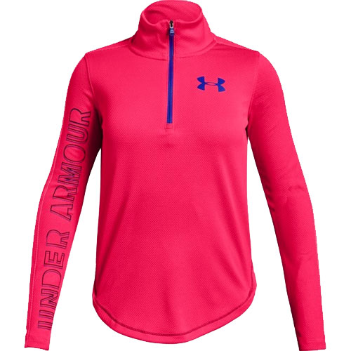Girls' Tech Half-Zip, Pink, swatch