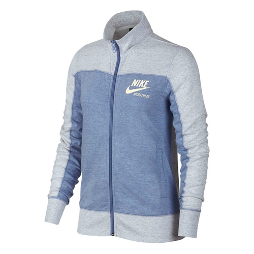 Women's Sportswear Gym Vintage Full Zip Hoodie, Blue, swatch