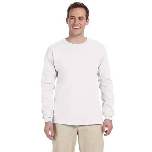 Men's Long Sleeve Crew Neck Fleece, White, swatch