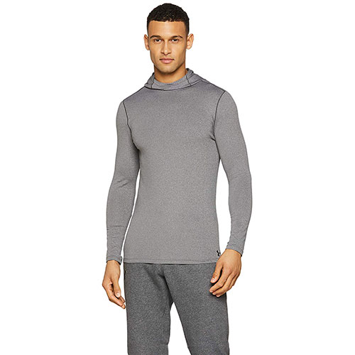 Men's Long Sleeve ColdGear Fitted Hoodie, Heather Gray, swatch