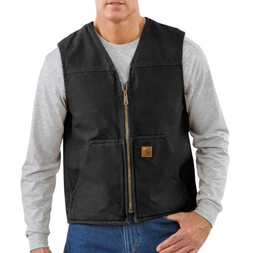 Men's Sandstone Rugged Sherpa Lined Vest, Black, swatch
