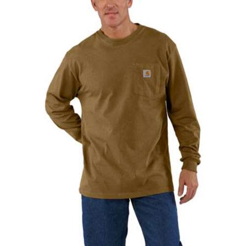 Men's Workwear Long Sleeve Pocket T-Shirt, Brown, swatch