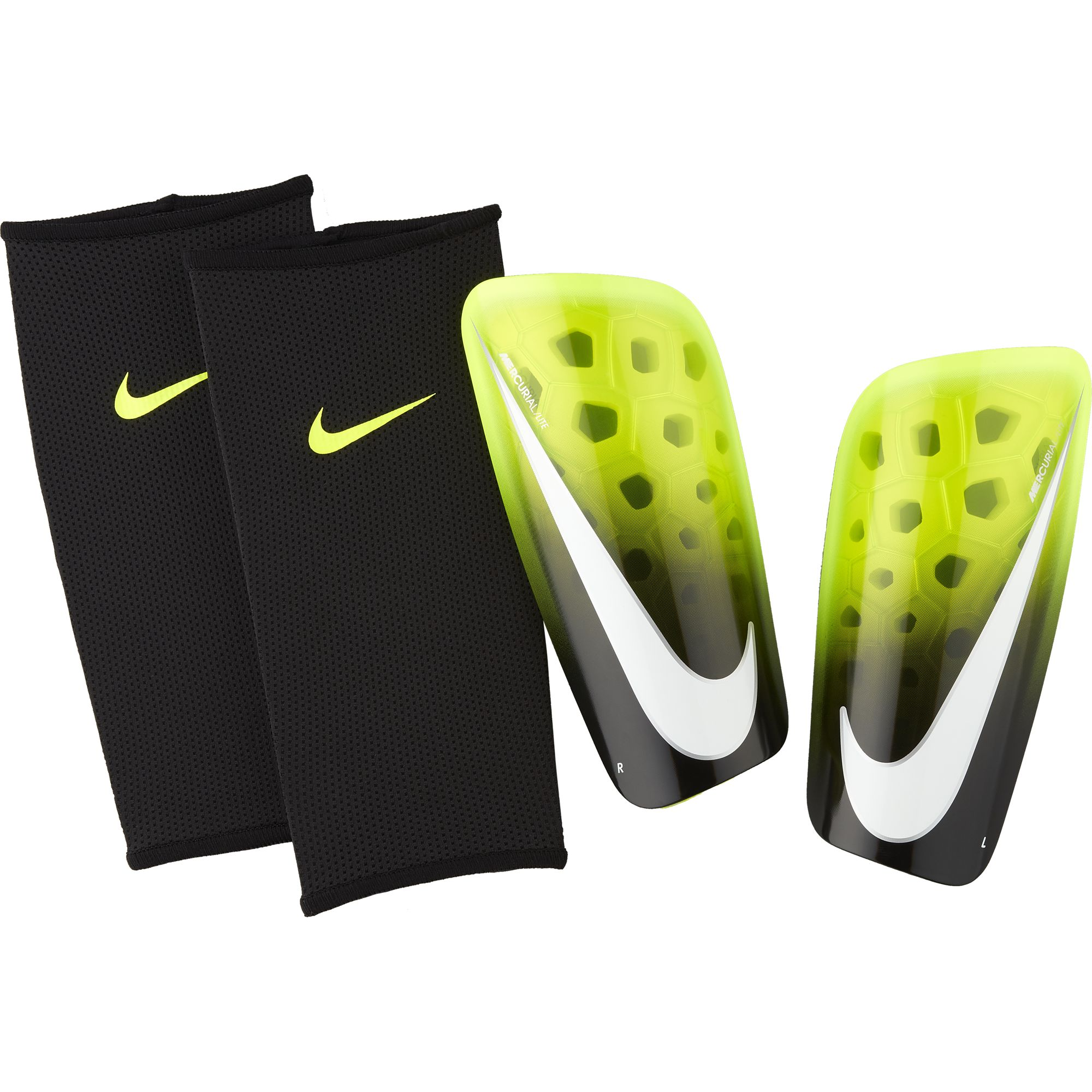 Mercurial Lite Shin Guards, Black/Neon, swatch