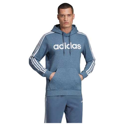 Men's Essentials 3-Stripes Pullover Hoodie, Blue, swatch