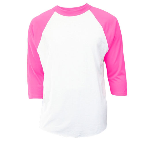 Youth 3/4 Sleeve Baseball Shirt, White/Pink, swatch