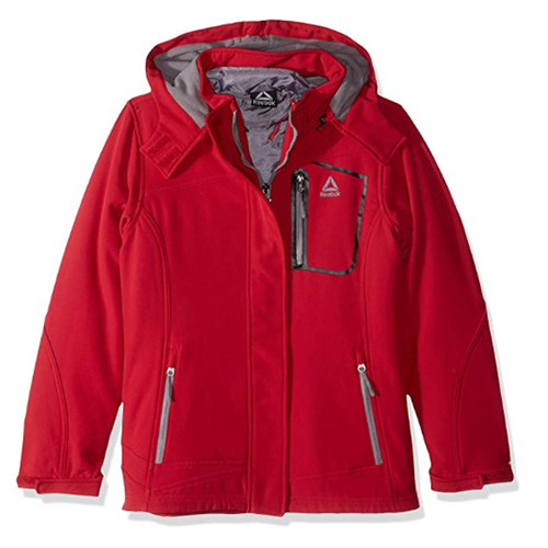 Girls' Softshell Jacket, Red, swatch