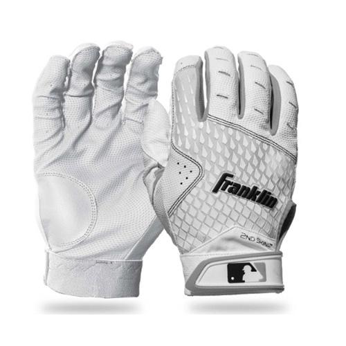 Men's MLB 2nd Skinz Batting Gloves, White, swatch