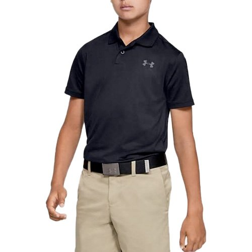 Boys' Performance Textured Golf Polo, Black, swatch