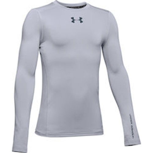 Boy's ColdGear Long Sleeve Crew, Heather Gray, swatch