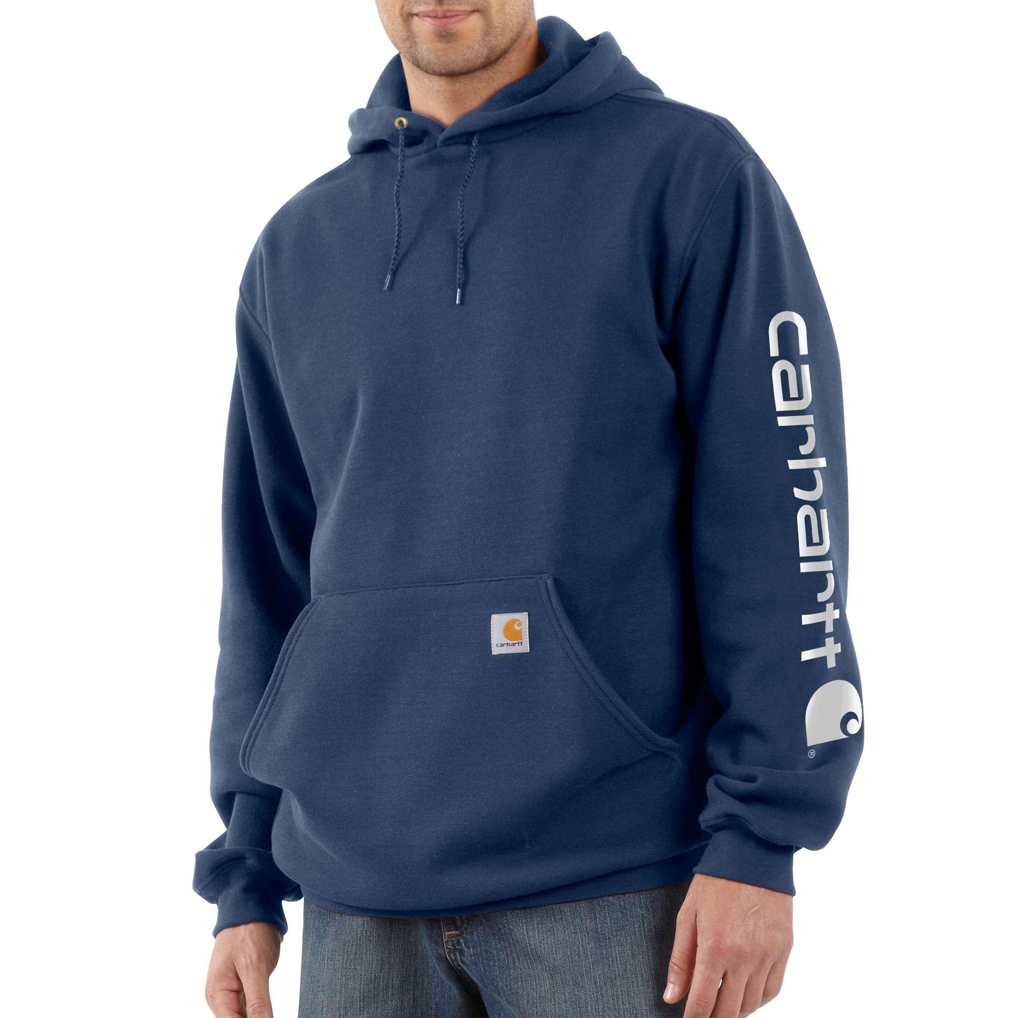 Men's Midweight Signature Logo Sleeve Hooded Sweatshirt, Navy, swatch