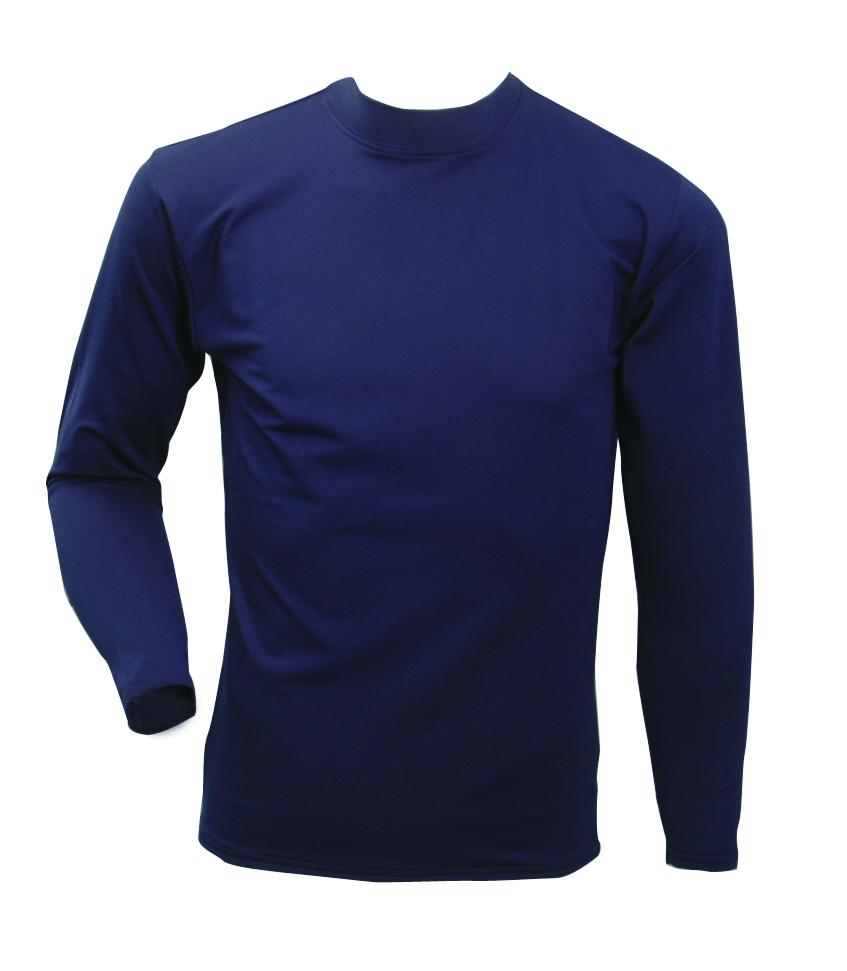 Men's Long Sleeve Cold Weather Mockneck Shirt, Navy, swatch