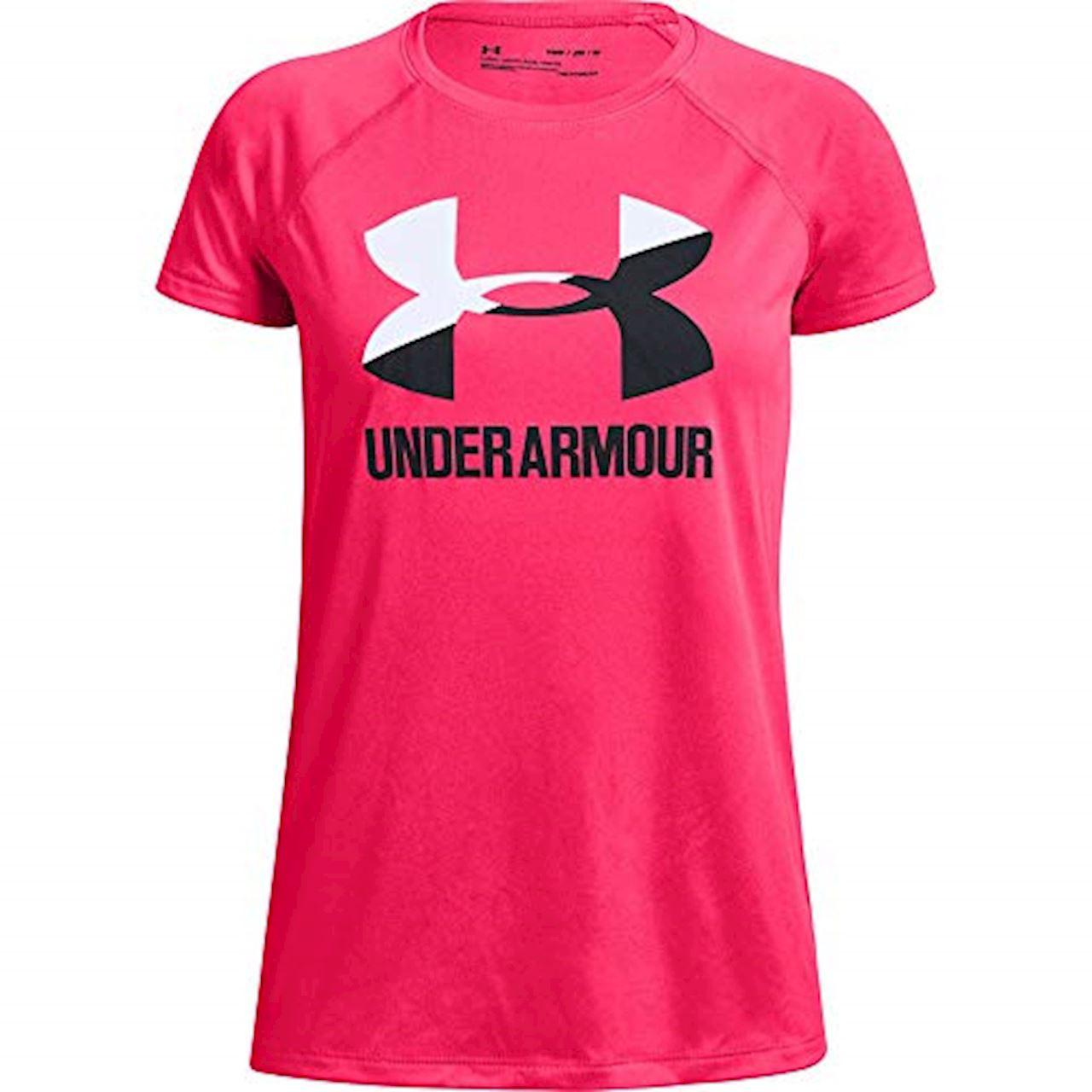 Girl's Short Sleeve Big Logo Solid Tee, Pink, swatch