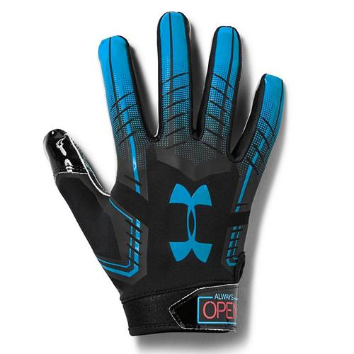 Men's F6 Novelty Football Gloves, Black/Blue, swatch