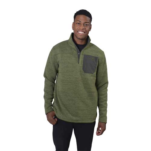 Men's Long Sleeve Specialist Henley 2.0 Fleece, Green, swatch