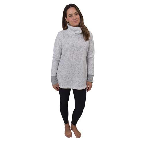 Women's Jacquard Long Sleeve Quilt Cowl Neck Sweatshirt, White, swatch