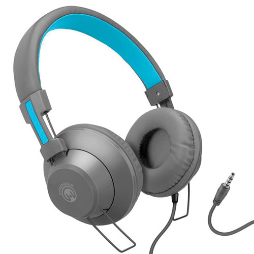 V50 Headphones with Microphone, Blue/Gray, swatch