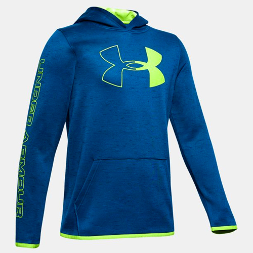 Boy's Armour Fleece Branded Hoodie, Green Blue, Teal, large