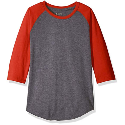 Adult Classic Heathered Baseball Tee, Gray/Red, swatch