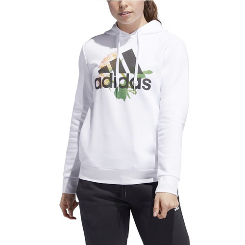 Women's Floral Badge of Sport Hoodie, White, swatch