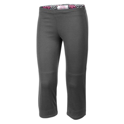 Girls' Wild Print Waistband Tee Ball Pants, Gray/Pink, swatch