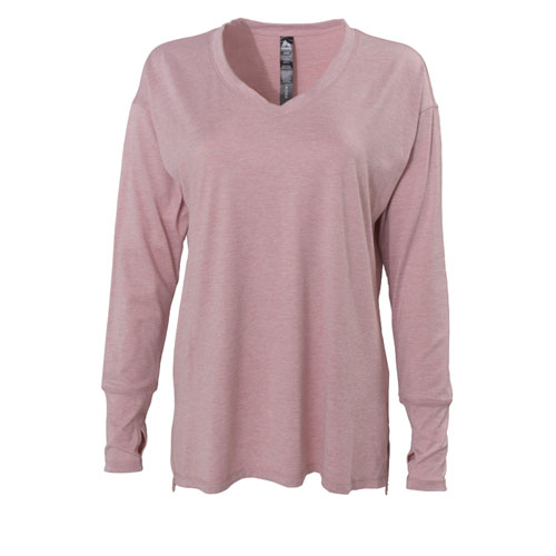 Long Sleeve Peached with Slit V-neck, Pink, swatch