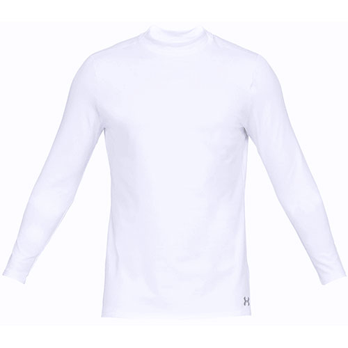 Men's Long Sleeve ColdGear Armour Mock Neck Shirt, White, swatch
