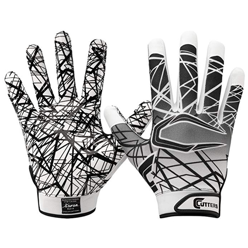 Adult Game Day Receiver Gloves, White, large