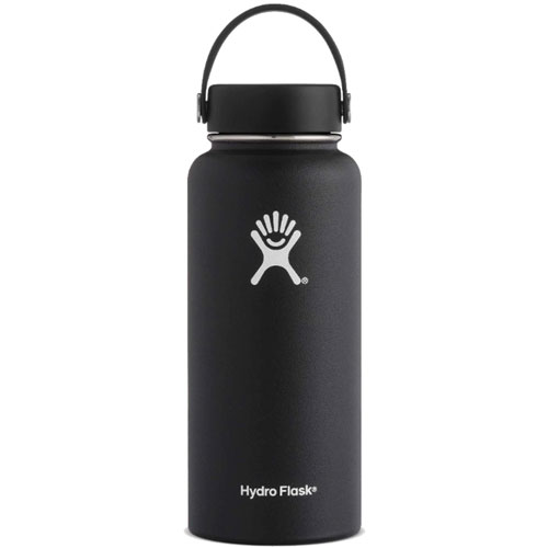 32 Oz Wide Mouth Water Bottle, Black, swatch