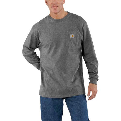 Men's Workwear Long Sleeve Pocket T-Shirt, Gray, swatch
