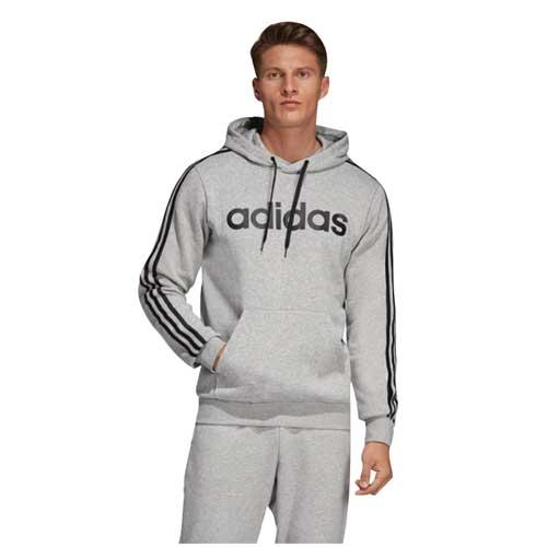 Men's Essentials 3-Stripes Pullover Hoodie, Heather Gray, swatch