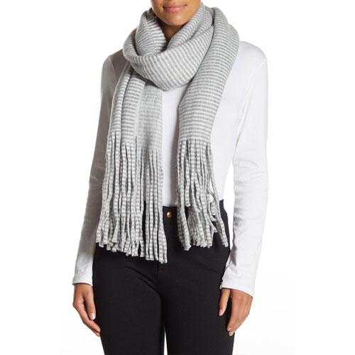 Striped Oblong Scarf-Grey, Heather Gray, swatch