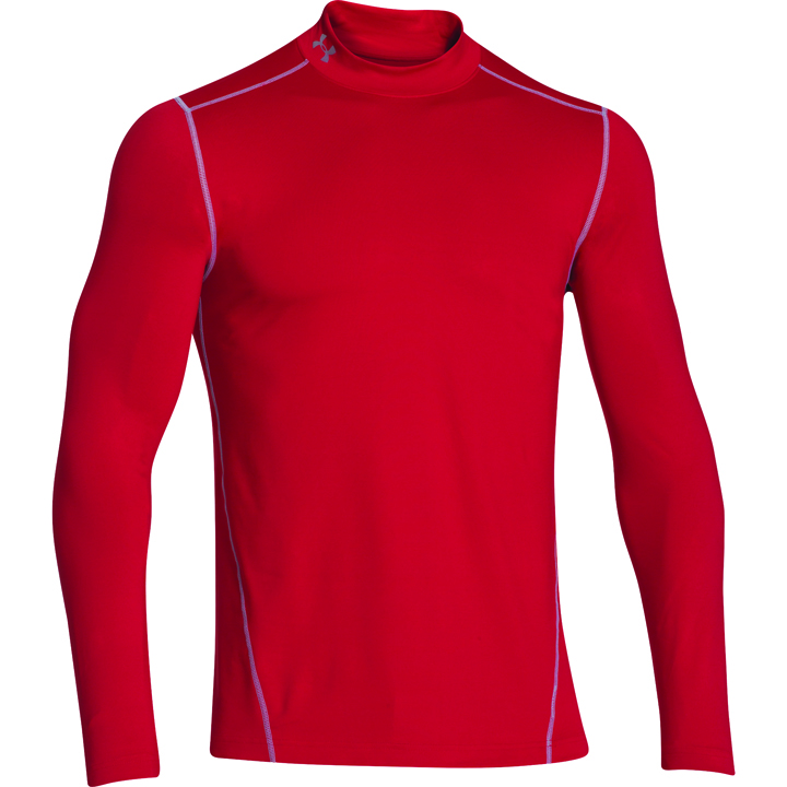 Men's ColdGear EVO Fitted Mock Long Sleeve Shirt, Red, swatch