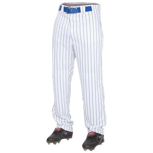 Adult Semi-relaxed Pinstripe Baseball Pants, White/Royal, swatch