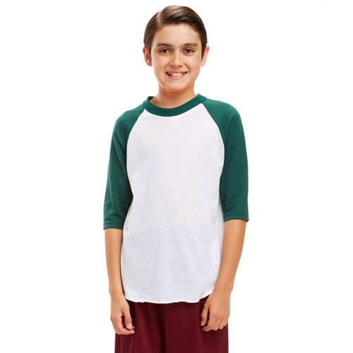 Youth 3/4 Sleeve Baseball Shirt, White/Green, swatch