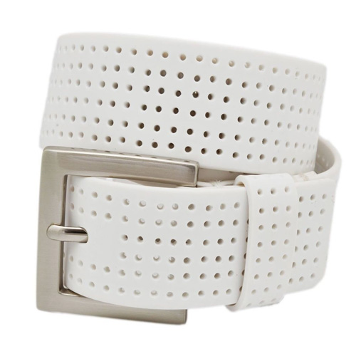 Men's Perforated Fashion Color Silicone Belt, White, swatch