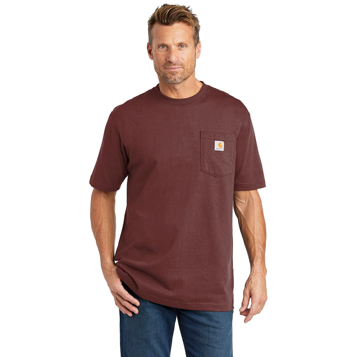 Men's Workwear Short Sleeve T Shirt, Walnut, swatch