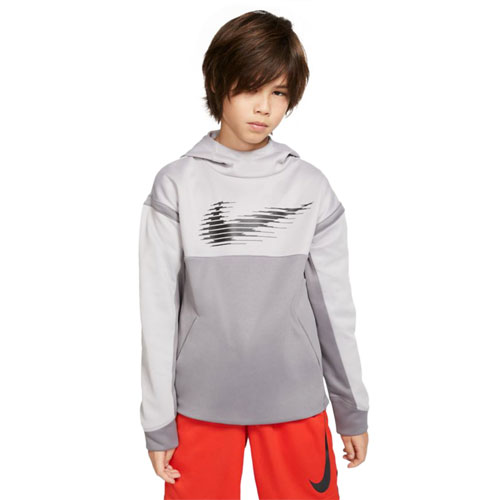 Boy's Therma Graphic Training Pullover Hoodie, Heather Gray, swatch