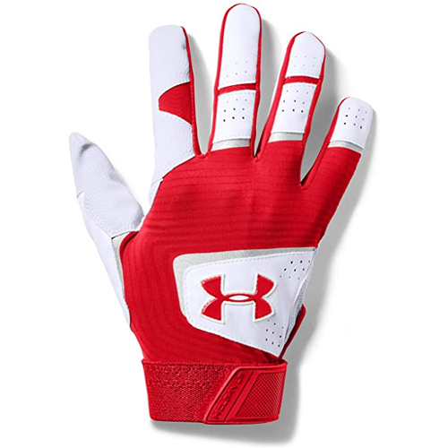 Men's Clean Up Baseball Gloves, Red/White, swatch