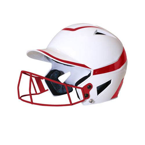 Senior 2-Tone Fast Pitch Helmet with mask, White/Red, swatch