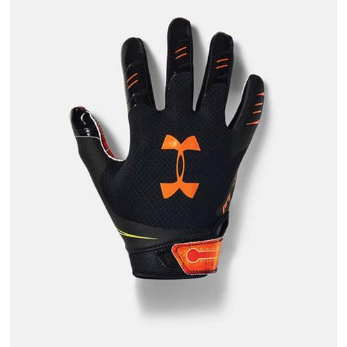 Youth F7 Novelty Football Gloves, Black/Orange, swatch