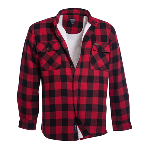 Men's Faux Sherpa Lined Flannel Shirt Jacket, Red/Black, swatch
