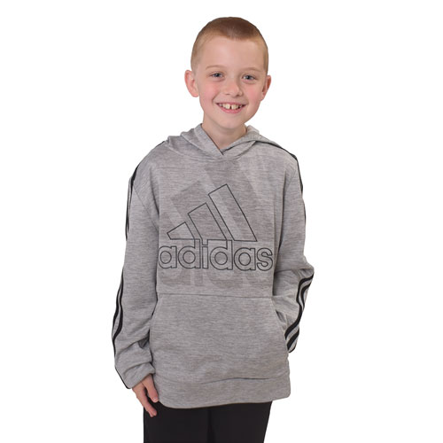 Boys' Statement Badge of Sport Pullover Hoodie, Heather Gray, swatch