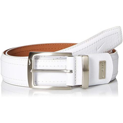 Men's G-flex Pebble Grain Leather Golf Belt, White, swatch